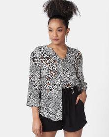 Queenspark Animal Print Woven Shirt Brown