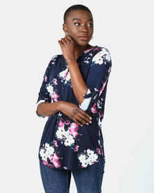 Queenspark Floral Henley Core Knit Top Navy