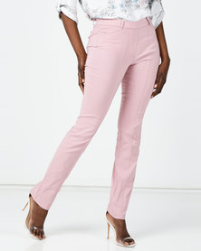 Queenspark New Pleated Pocket Bengaline Woven Slacks Pink