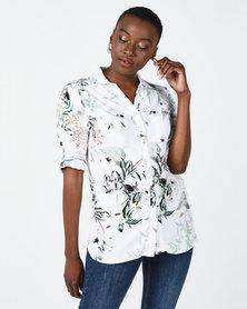 Queenspark Leaf Print Woven Shirt White