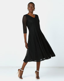 Queenspark Stretch Lace Fit & Flare Knit Dress Black