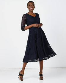 Queenspark Stretch Lace Fit & Flare Knit Dress Navy