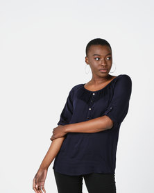 Queenspark 3/4 Sleeve Button Detail Woven Blouse Navy