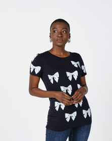Queenspark Printed Bow And Pearl Detail Knit Top Navy