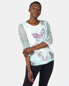 Queenspark Butterfly Printed Floral Bag Knit Top Green