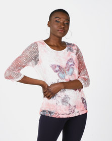 Queenspark Butterfly Printed Floral Bag Knit Top Coral