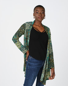 Queenspark Peacock Printed Knit Jacket Green