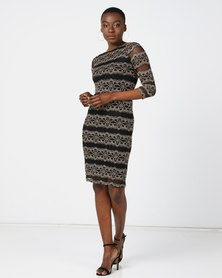 Queenspark Modern Lace Glam Knit Dress Gold