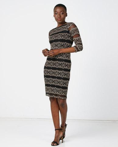 Queenspark Modern Lace Glam Knit Dress Gold