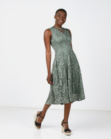 Queenspark Stretch Lace Fit & Flare Knit Dress Sage