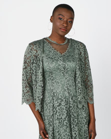 Queenspark Scalloped Stretch Lace Bolero Jacket Sage