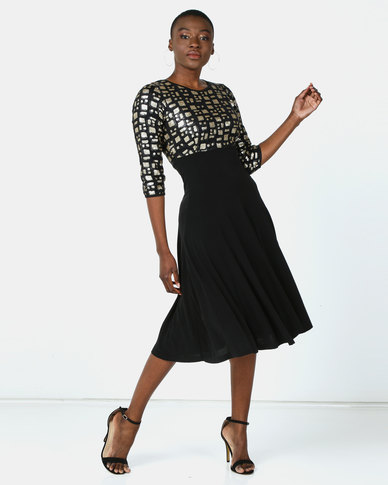 Queenspark Sequin Fit & Flare Glam Knit Dress Black