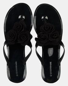 Queenspark Big Flower &  Leaf Jelly Thong Sandals  Black