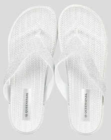 Queenspark Elevated Sparkle Thong Sandals Silver
