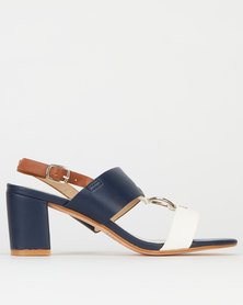Queenspark Colour Block Ring Sandals Navy