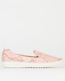 Queenspark Python Printed Sneakers Pink