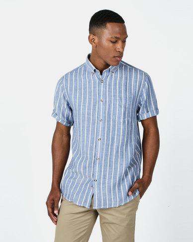 JCrew Vertical Stripe Shirt Blue