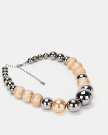 Queenspark Shiny Glitter Balls Necklace Gold