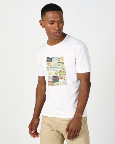 Utopia Numberplate Placement Print Tee White