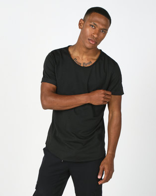 Utopia V-Neck Tee With Zip Detail Black