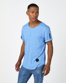 Utopia V-Neck Tee With Zip Detail Blue