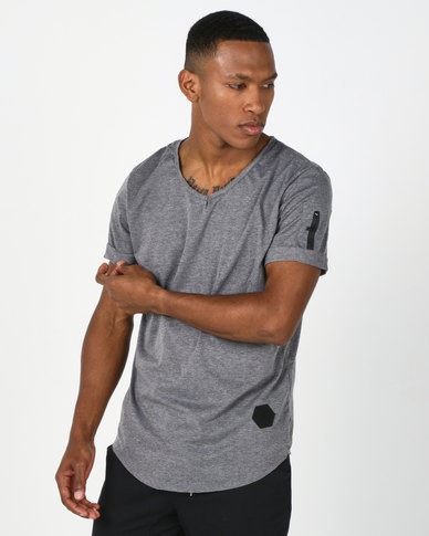 Utopia V-Neck Tee With Zip Detail Charcoal