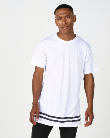 Utopia Longer Length Tee With Stripes White