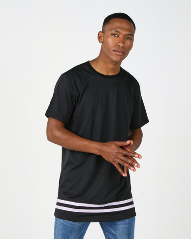 Utopia Longer Length Tee With Stripes Black