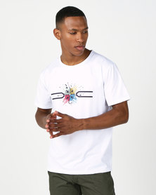 Utopia T-shirt with Placement Print White