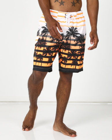 Utopia Palm Print Swimshorts with Inner Support Orange