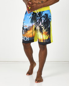 Utopia Life's a Beach Swimshorts with Inner Support Yellow