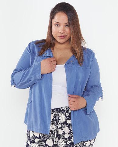 Queenspark Plus Collection Blue Tencel Soft Woven Jacket