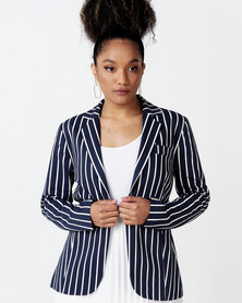 cath.nic By Queenspark Striped Smart Woven Blazer Navy