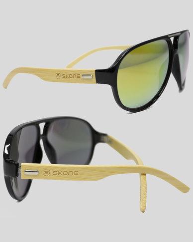 Skone Abacos Black UV400 Protection Bamboo Sunglasses - Yellow Tint