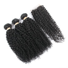 BLKT Free Closure Package: 16 inches 12A Brazilian Kinky Wave Weaves x3 Bundles and Free Closure