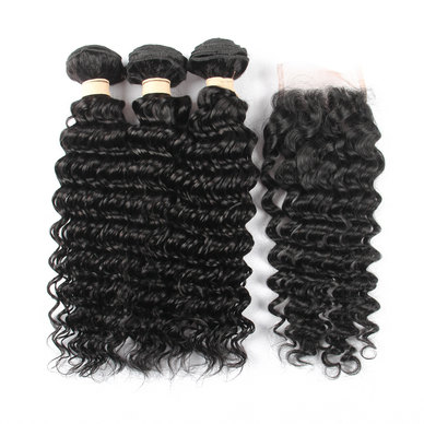 BLKT Free Closure Package: 16 inches 12A Brazilian Deep Water Wave Weaves  x3 Bundles and Free Closure