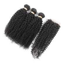 BLKT Free Closure Package: 14 inches 12A Brazilian Water Wave Weaves x3 Bundles and Free Closure
