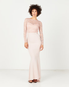 Sissy Boy Super Power Lace Mixed Maxi After 6 Dress Pink Mist