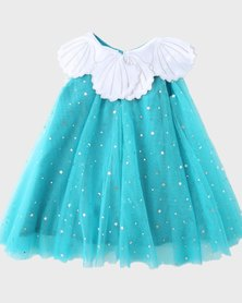 Oikie Toikie Sparkling Moon & Stars Tulle Dress with Shell Collar Blue