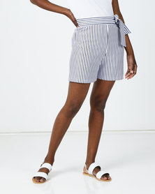 Utopia Striped Shorts With Belt Navy/White