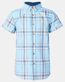 Polo Boys Riley Short Sleeve Checked Shirt Blue