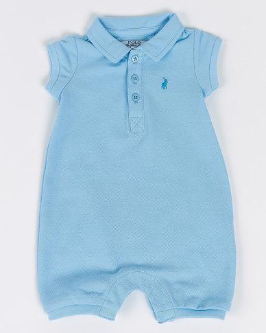 Polo Infants Alex Short Sleeve Babygrow Blue