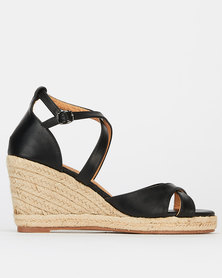 Butterfly Feet Brogan Wedges Black