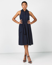 Polo Lds Fsh Dawson Anglaise Sl Dress Navy