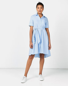 Polo Danica Stripe Assymetric Dress Light Blue