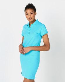 Polo Lds Kathy Ss Stretch Golfer Dress Aqua