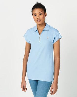 Polo Lds Eva Sl Zip Detail Golfer Blue