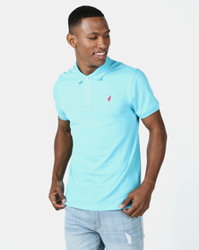 Polo Mens Carter Custom Fit Short Sleeve Pique Golfer Aqua