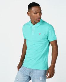 Polo Mens Carter Custom Fit Ss Pique Golfer Sea Green