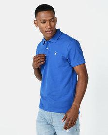 Polo Mens Carter Custom Fit Short Sleeve Pique Golfer Cobalt